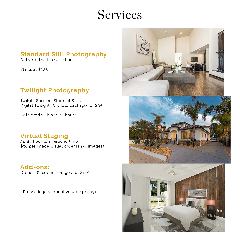 Still Photography - Twilight photography - Digital Twilight photography - Virtual Staging - Drone